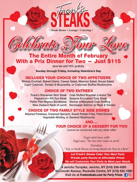 Valentines Special @ Frank's Steaks For The Entire Month of February